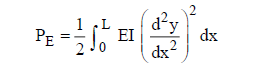 Beam bending energy formula for total strain or potential energy P E of a uniform beam