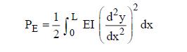 Beam bending energy formula for total strain or potential energy P E of a uniform beam