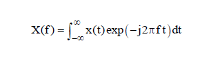 Fourier transform equation for identifying the spectral content of a time history